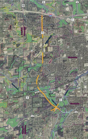 This map shoes the full West Waukesha Bypass project since 2017. The project began north of Northview Road that year by the city of Waukesha. Work by Waukesha County and the Wisconsin Department of Transportation continued southward in 2018 to Highway 18. The current project south of Highway 18 is under the jurisdiction of WisDOT alone.