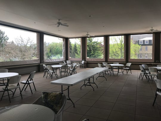 The deck room at the new convent which can be fully opened to the outside with vinyl windows.