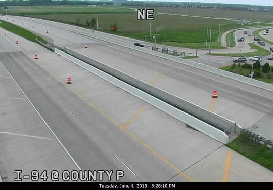 No cars are seen in I-94 at County P in Waukesha County.
