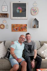 Courage MKE co-founders Brad Schlaikowski, left, 39, and his husband, Nick Schlaikowski, 37, at the MKE Courage House on Milwaukee's south side.