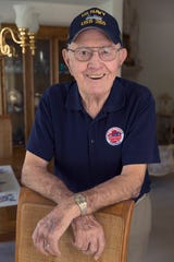 Floyd Sorenson, a Navy corpsman who, when the tanks on his LST (tank landing ship) were offloaded onto Omaha Beach on D-Day in 1944, helped turn it into a triage zone/hospital ship. He  ran up and down Omaha Beach under fire, gathering up the wounded and taking them back to the LST, and then assisted with trying to stabilize them and take them back across the channel.  He is shown Wednesday, May 22, 2019 at his home in Brookfield, Wis.