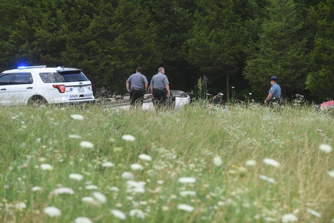 Deputies with the Baxter County Sheriff's Office assist as troopers with the Arkansas State Police investigate a serious accident Tuesday afternoon on Arkansas State Highway 178 West near the intersection of Arkansas State Highway 5 North. Initial traffic on emergency radios indicated the vehicle rolled over and the lone occupant was thrown from the vehicle. Traffic was rerouted around the accident site as emergency personnel worked the scene. Should the accident turn out to be fatal, ASP will make public a short report describing the accident at a later date.