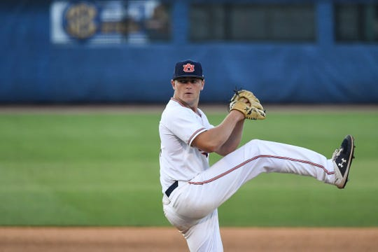 Auburn's Bailey Horn (8) pitches against Tennessee during the SEC Baseball Tournament on Tuesday, May 21, 2019, in Hoover, Ala.