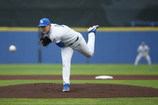 Kentucky's Zack Thompson delivers a pitch during the 2019 season.