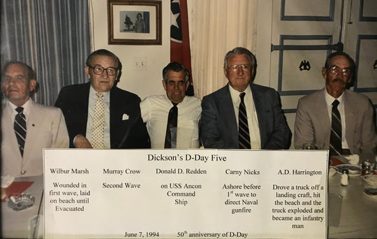 Dickson County's D-Day participants, pictured in 1994 , during the 50th anniversary of D-Day. All the men are now deceased.