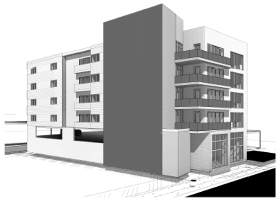An architectural rendering of a boutique hotel in the works at 916 Main Street