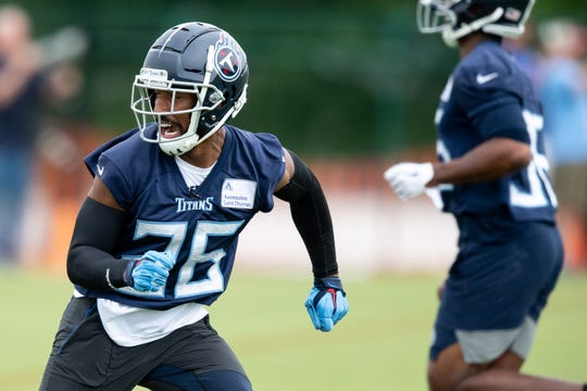 Titans cornerback Logan Ryan (26) runs drills during practice Tuesday.