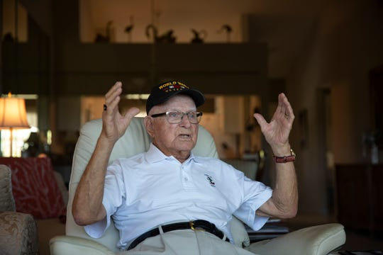 World War II veteran Chester Sokol talks about his experience during D-Day, Monday, June 3, 2019, at his home in East Naples.