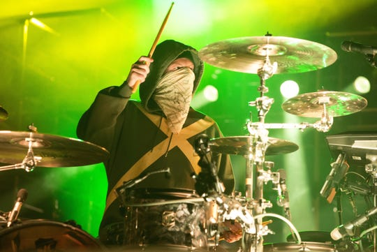 "In this Oct. 28, 2018, photo, Josh Dun of the band Twenty One Pilots performs in concert during their ""Bandito Tour"" at The Wells Fargo Center in Philadelphia."