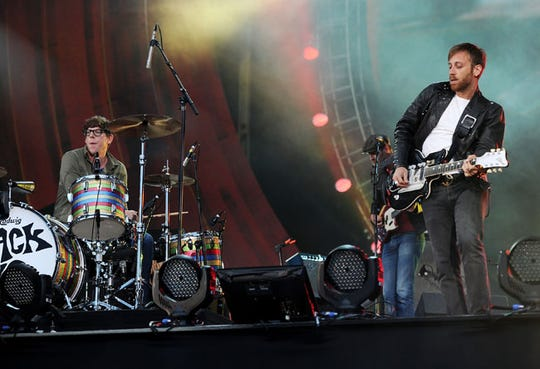 Guitarist Dan Auerbach, right, and drummer Patrick Carney of The Black Keys perform at the Global Citizen Festival in Central Park on Saturday Sept. 29, 2012 in New York.