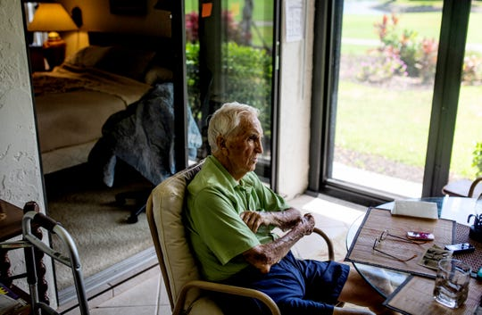 "World War II veteran Eugene Roberts recounts D-Day at his home in Naples on Saturday, June 1, 2019. ""I still believe in my country,"" Roberts said. ""Sometimes I get doubtful, but I worked hard to do my part."""
