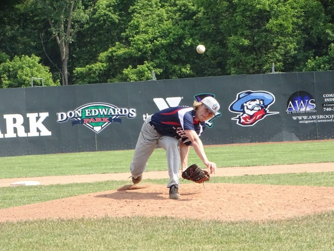 Tanner Griggs, shown pitching earlier this summer, threw 2 1/3 scoreless innings Sunday to secure the Licking County Settlers' 8-4 victory against the Cincinnati Steam.