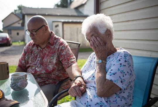 Grace Godwin fights back tears knowing her brother, Paul King, will be heading back to his home in Florida soon after the sibling were reunited after 70 years apart.