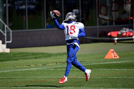 New York Giants wide receiver Corey Coleman makes a one-handed catch during Day 1 of Giants minicamp on Tuesday, June 4, 2019, in East Rutherford.
