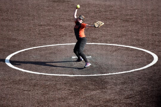 Middletown North HS played Highstown in the semifinals of the Tournament of Champions at Seton Hall on Tuesday, June 4, 2019. Malori Bell pitching for Middletown North.