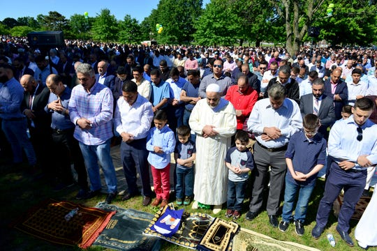 The muslim community gathered for the Eid al-Fitr prayers, marking the end of the month of Ramadan at Main Memorial Park on Tuesday June 4, 2019 in Clifton, N.J.