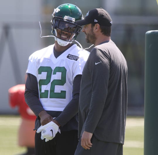 Cornerback, Trumaine Johnson with head coach Adam Gase during the first day at the New York Jets minicamp in Florham Park, NJ on June 4, 2019.