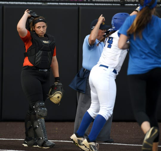 Middletown North HS played Highstown in the semifinals of the Tournament of Champions at Seton Hall on Tuesday, June 4, 2019. Middletown North catcher Mia Botti is dejected after Highstown scores in the ninth inning. Highstown won 4-0 in nine innings.