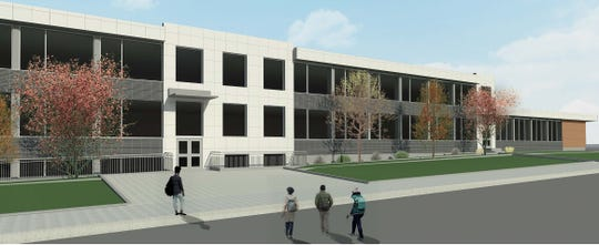 This rendering shows a possible design for a new facade for Rutherford High School's Mortimer Wing.