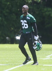 The newest Jet, Le'Veon Bell on his first day at the New York Jets minicamp in Florham Park, NJ on June 4, 2019.