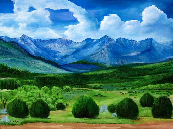 """""""Mountain Range,"""" an oil-on-canvas painting by Curt Stafford is included in the artist's """"Memories and Inspirations"""" exhibition."""