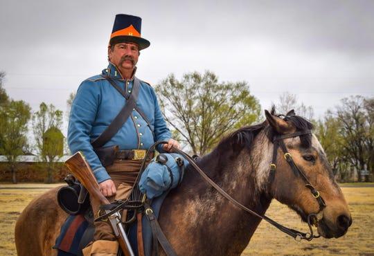 A dragoon rider duringa recent celebrtaion at Fort Stanton.
