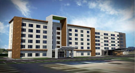 A rendering of the proposed Aloft and Element hotel on Victor Parkway in Livonia.