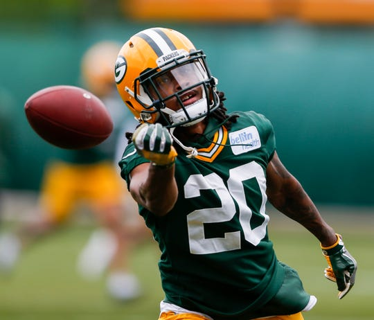 Green Bay Packers cornerback Kevin King (20) during the Green Bay Packers organized team activities practice on June 4, 2019 in Ashwaubanon, Wis. 