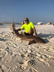 William Owen of the No Bones Fishing Club in Navarre poses with a shark the club caught Sunday on Navarre Beach.