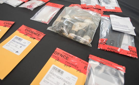 Evidence in the case against Leonard Troutman on display during a press conference at the Santa Rosa County Sheriff's Office in Milton on Tuesday, June 4, 2019.