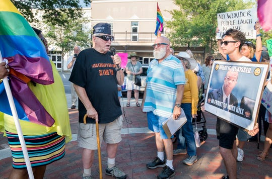 Army veteran William Sloan speaks during a rally in downtown Pensacola on Monday, June 3, 2019.  He explained that while he is straight, he served in the military to keep every safe and to protect everyone's rights.  The protesters are calling for the resignation of State Rep. Mike Hill after he made light of a suggestion that he enact legislation that would enforce the death penalty for homosexuality.