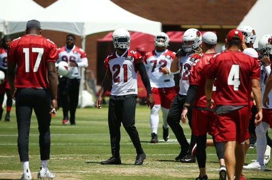Arizona Cardinals cornerback Patrick Peterson (21) during OTAs (organized team activities) on June 3, 2019 in Tempe, Ariz.