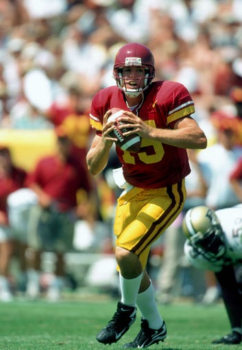 Aug 30, 1998; Los Angeles, CA, USA; FILE PHOTO; Southern California quarterback Carson Palmer (15) in action against Purdue at the Los Angeles Coliseum. USC defeated 27-17. Mandatory Credit: USA TODAY Sports