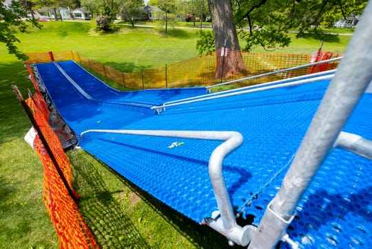 "Two artificial ramps for a sledding hill will open at Palmer Park on June 17. Port Huron received an award in 2018 from the KaBOOM! and Ralph C. Wilson Jr. foundations, as part of a ""Play Everywhere Challenge"" program, to pay for the feature."