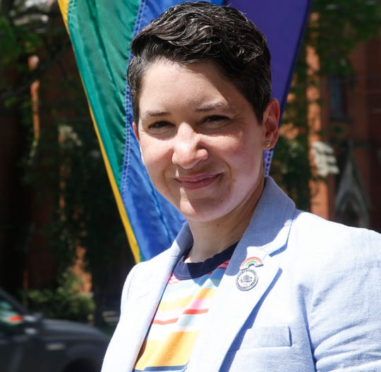 City of Poughkeepsie second ward councilperson Sarah Salem with a pride flag on June 4, 2019.