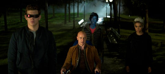 "From left, Tye Sheridan, James McAvoy, Kodi Smit-McPhee and Alexandra Shipp in ""Dark Phoenix."" The movie opens Thursday at Regal West Manchester, Frank Theatres Queensgate Stadium 13 and R/C Hanover Movies."