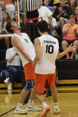 York Suburban's Nate Bowman shouts in celebration as Luke Babinchak congratulates him in a PIAA Class 2A boys' volleyball semifinal Tuesday, June 4, 2019 at Red Lion.