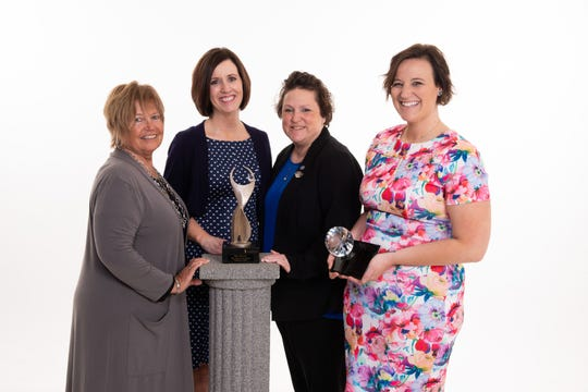 ATHENA Leadership Award finalists are (from left) Rhonda Duning, Melissa Vance and Jennifer Feaster. Ashley Sieb (far right) is the recipient of the ATHENA Young Professional Leadership Award.