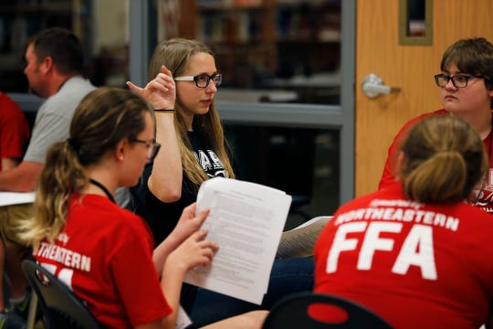 Organizer Jasmine Roosa (black shirt) leads her group through a case study discussion during the S.P.A.R.K. Jr. Vet Camp at Northeastern High School on Monday, June 3, 2019.