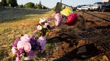 A memorial is set up where three teens were killed in a car crash near the intersection of Cherry Avenue and Salem Parkway on June 3.