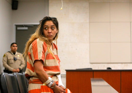Hilda Valencia appears at her arraignment June 4, 2019, in which she pleaded not guilty to allegations she killed three women and injured a fourth while driving under the influence of drugs.