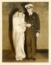 Newlyweds Douglas Franchot Jr. and Janet Kerr. Franchot was a pilot on D-Day and Kerr served as a Rosie the Riveter.