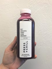 Beetbox fresh pressed juice from Press + Chill, a new juice bar at the Shoppes at Woodlake in Kohler. The ingredients are meant to provide a natural cleanse throughout the day.