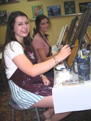 """Demoiselle Debs:  honoree  Emma    Lunn and guest Taylor Brown  at """"Painting With a Twist""""      Lunch and Painting Party hosted by Emma's grandmother Lynn Chance, Tracy Pressly, Betty Henderson."""