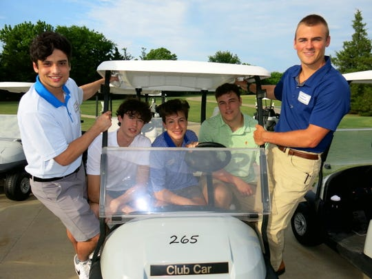 """Demoiselle Club Patron Sons at Golf Themed """"Par-Tee"""" for debutantes: William B. Vekovius, Christopher G. McJunkins, Thomas E. Hebert, Neal A. Tipton, Addison B. Drummond. Celebrators gathered at David Toms' Academy for the event."""