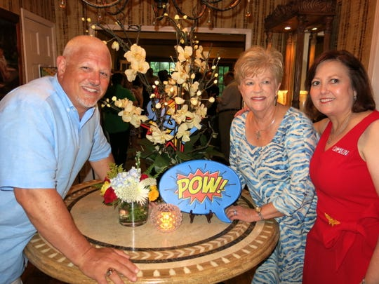 Krewe Justinian 2020 King Judge Jeff Cox, Queen Helen Herzog, Captain Rebecca Edwards. The revelers  met at the home of Lyn and Angela Lawrence.