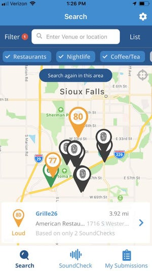 Screenshot of SoundPrint in action in Sioux Falls.