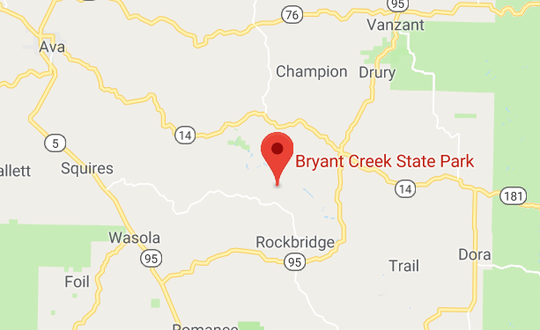 Map shows location of Bryant Creek State Park, southeast of Ava.