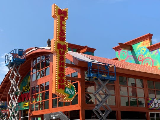 Mellow Mushroom and Dude's Daiquiris at Branson Landing are shown under construction on June 4, 2019.