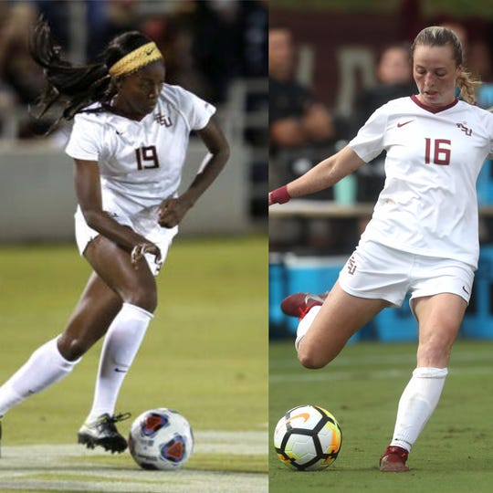 Cheyna Matthews (left) of Jamaica and Gabby Carle of Canada will compete this month in the FIFA Women's World Cup in France.